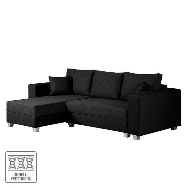 Ecksofa Dublin II (mit Schlaffunktion / beidseitig montierbar) Kunstleder/Strukturstoff - Schwarz