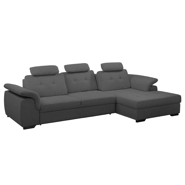 ecksofa halsey mit schlaffunktion strukturstoff longchair davorstehend rechts dunkelgrau. Black Bedroom Furniture Sets. Home Design Ideas