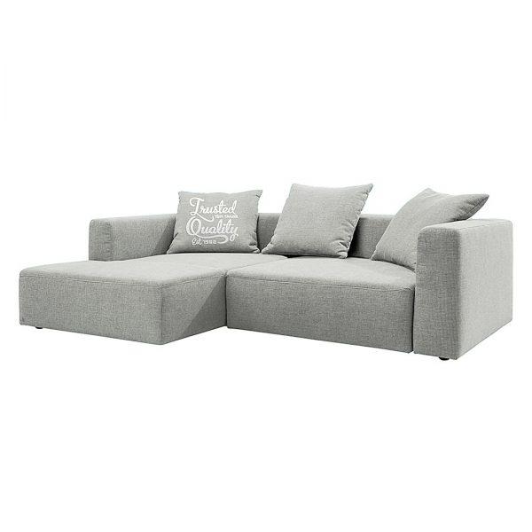 Ecksofa Heaven Casual XL Webstoff - Longchair/Ottomane davorstehend links - Ohne Schlaffunktion - Platin