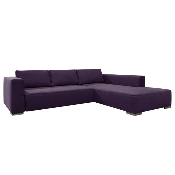 Ecksofa Heaven Colors Style M Webstoff - Longchair/Ottomane davorstehend rechts - Mit Schlaffunktion - Stoff TCU47 very purple