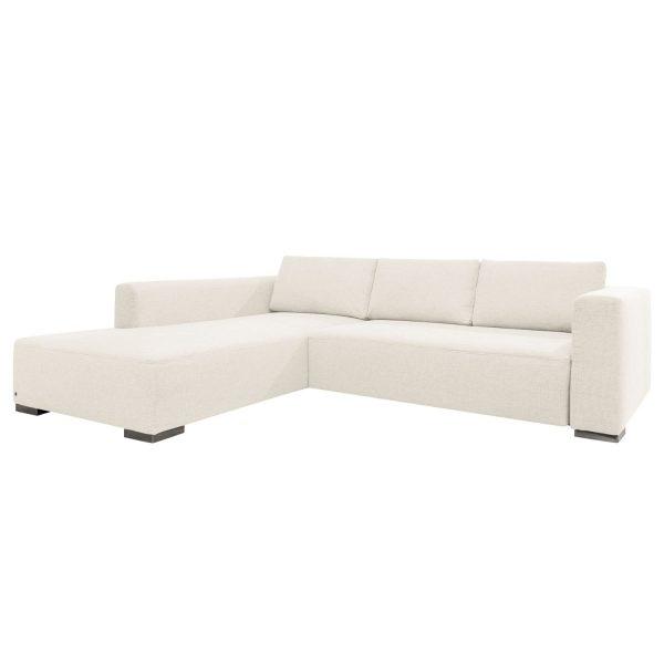 Ecksofa Heaven Colors Style XL Webstoff - Longchair/Ottomane davorstehend links - Mit Schlaffunktion - Stoff TCU0 pure white