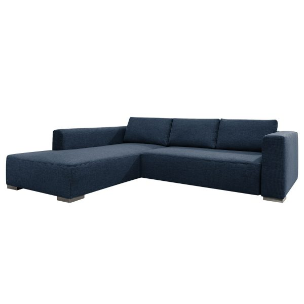 Ecksofa Heaven Colors Style XL Webstoff - Longchair/Ottomane davorstehend links - Mit Schlaffunktion - Stoff TCU16 navy blue