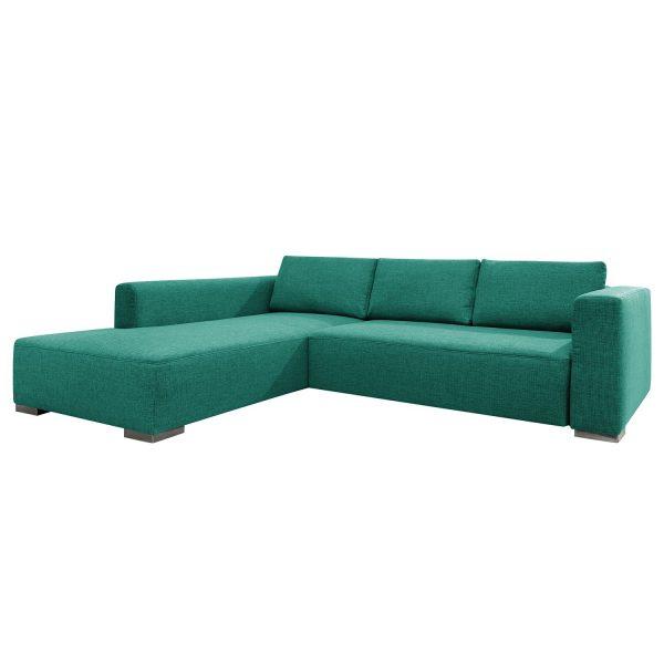 Ecksofa Heaven Colors Style XL Webstoff - Longchair/Ottomane davorstehend links - Mit Schlaffunktion - Stoff TCU3 ocean blue