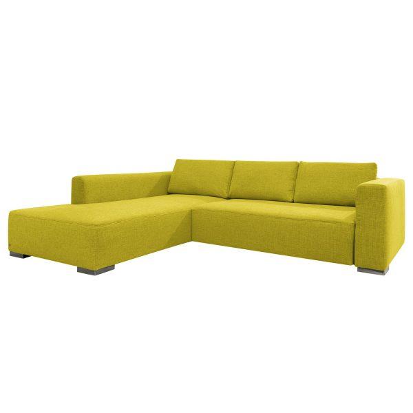 Ecksofa Heaven Colors Style XL Webstoff - Longchair/Ottomane davorstehend links - Ohne Schlaffunktion - Stoff TCU5 cool lemon