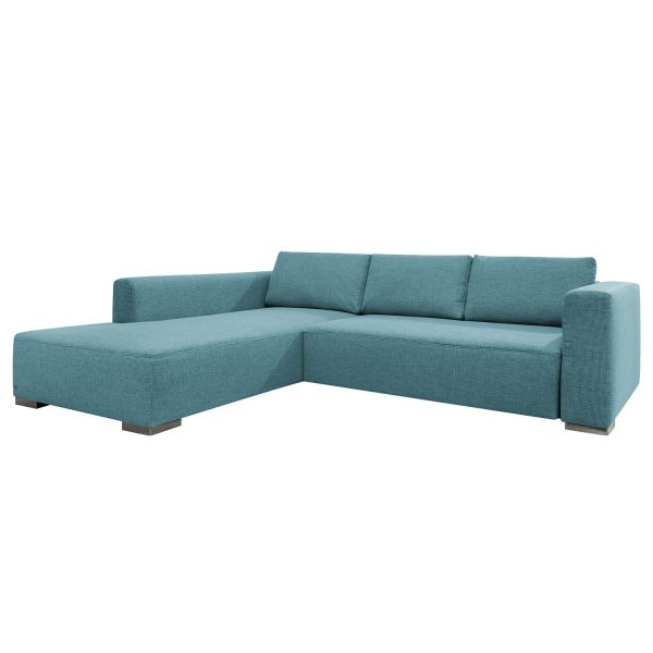Ecksofa Heaven Colors Style XL Webstoff - Longchair/Ottomane davorstehend links - Ohne Schlaffunktion - Stoff TCU6 fresh blue