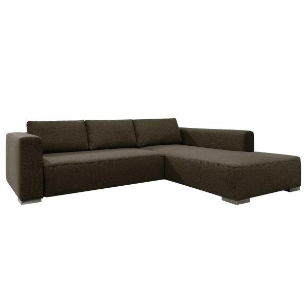Ecksofa Heaven Colors Style XL Webstoff - Longchair/Ottomane davorstehend rechts - Mit Schlaffunktion - Stoff TCU4 vintage brown