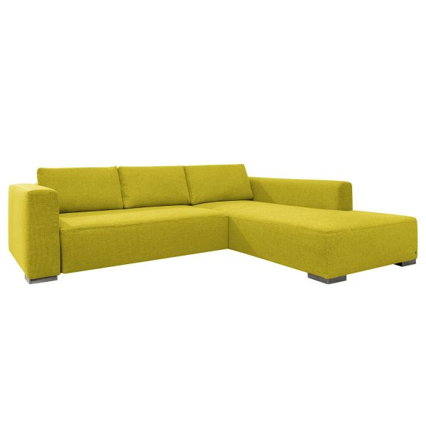 Ecksofa Heaven Colors Style XL Webstoff - Longchair/Ottomane davorstehend rechts - Mit Schlaffunktion - Stoff TCU5 cool lemon