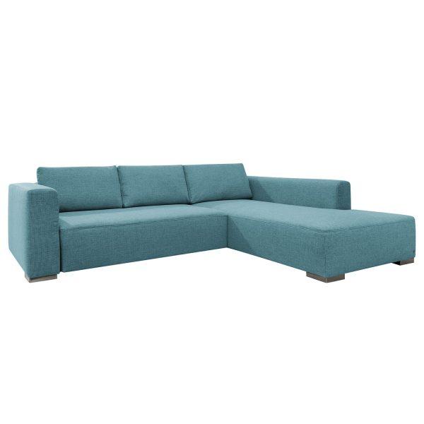 Ecksofa Heaven Colors Style XL Webstoff - Longchair/Ottomane davorstehend rechts - Mit Schlaffunktion - Stoff TCU6 fresh blue