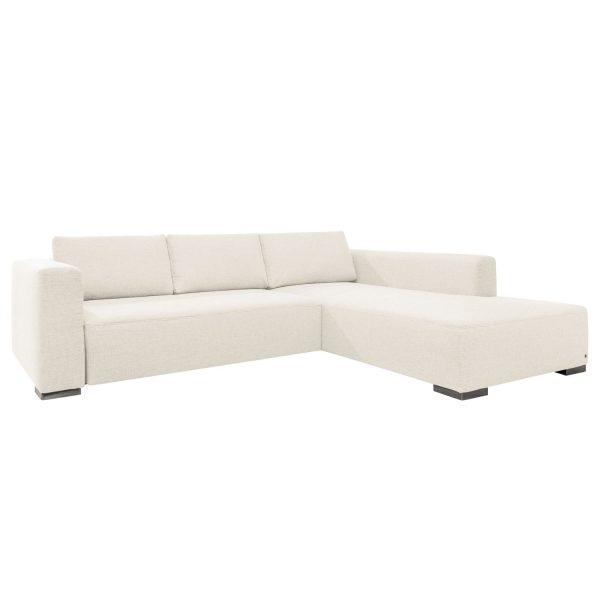 Ecksofa Heaven Colors Style XL Webstoff - Longchair/Ottomane davorstehend rechts - Ohne Schlaffunktion - Stoff TCU0 pure white