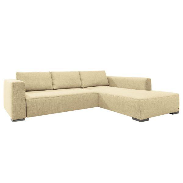 Ecksofa Heaven Colors Style XL Webstoff - Longchair/Ottomane davorstehend rechts - Ohne Schlaffunktion - Stoff TCU1 warm beige