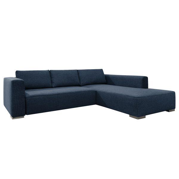 Ecksofa Heaven Colors Style XL Webstoff - Longchair/Ottomane davorstehend rechts - Ohne Schlaffunktion - Stoff TCU16 navy blue
