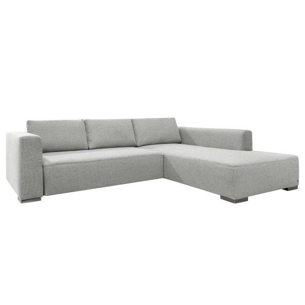 Ecksofa Heaven Colors Style XL Webstoff - Longchair/Ottomane davorstehend rechts - Ohne Schlaffunktion - Stoff TCU9 light grey