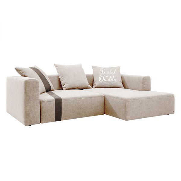 Ecksofa Heaven Stripe - Webstoff Longchair davorstehend rechts - Beige / Braun - Ohne Kissen