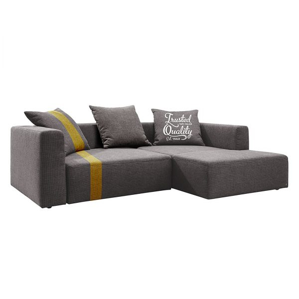 Ecksofa Heaven Stripe - Webstoff Longchair davorstehend rechts - Grau / Gelb - 3 Kissen