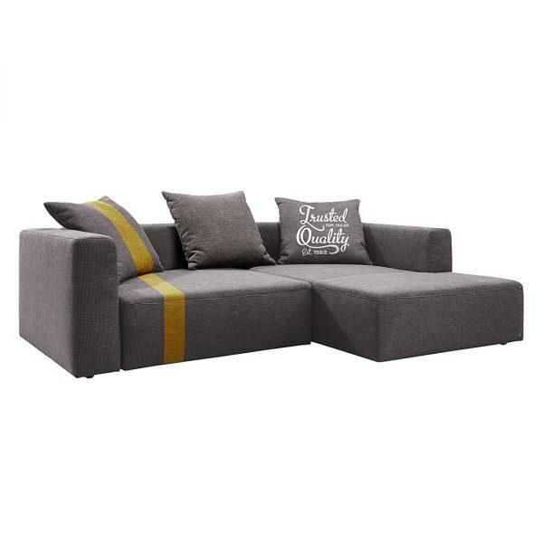 Ecksofa Heaven Stripe - Webstoff Longchair davorstehend rechts - Grau / Gelb - Ohne Kissen