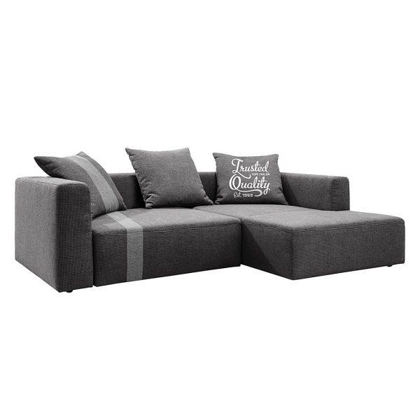 Ecksofa Heaven Stripe - Webstoff Longchair davorstehend rechts - Grau / Hellgrau - Ohne Kissen