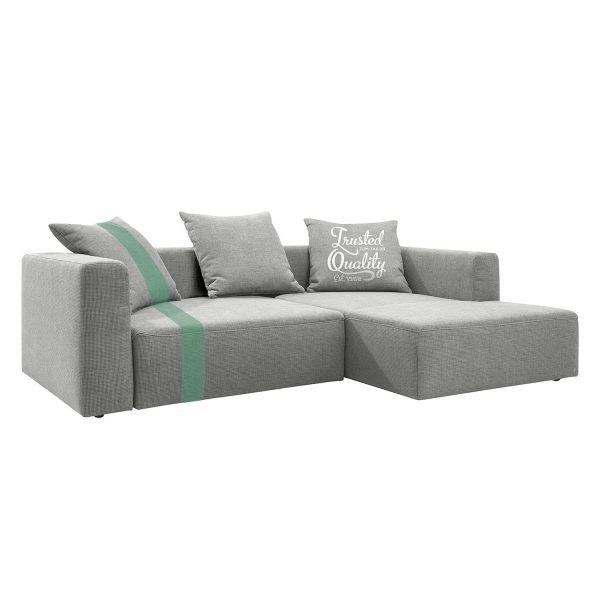 Ecksofa Heaven Stripe - Webstoff Longchair davorstehend rechts - Hellgrau/Mint - Ohne Kissen