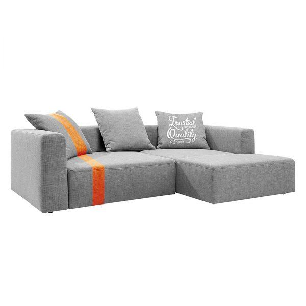 Ecksofa Heaven Stripe - Webstoff Longchair davorstehend rechts - Hellgrau/Orange - Ohne Kissen
