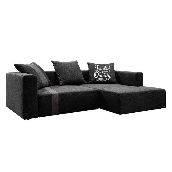 Ecksofa Heaven Stripe - Webstoff Longchair davorstehend rechts - Schwarz / Grau - 3 Kissen