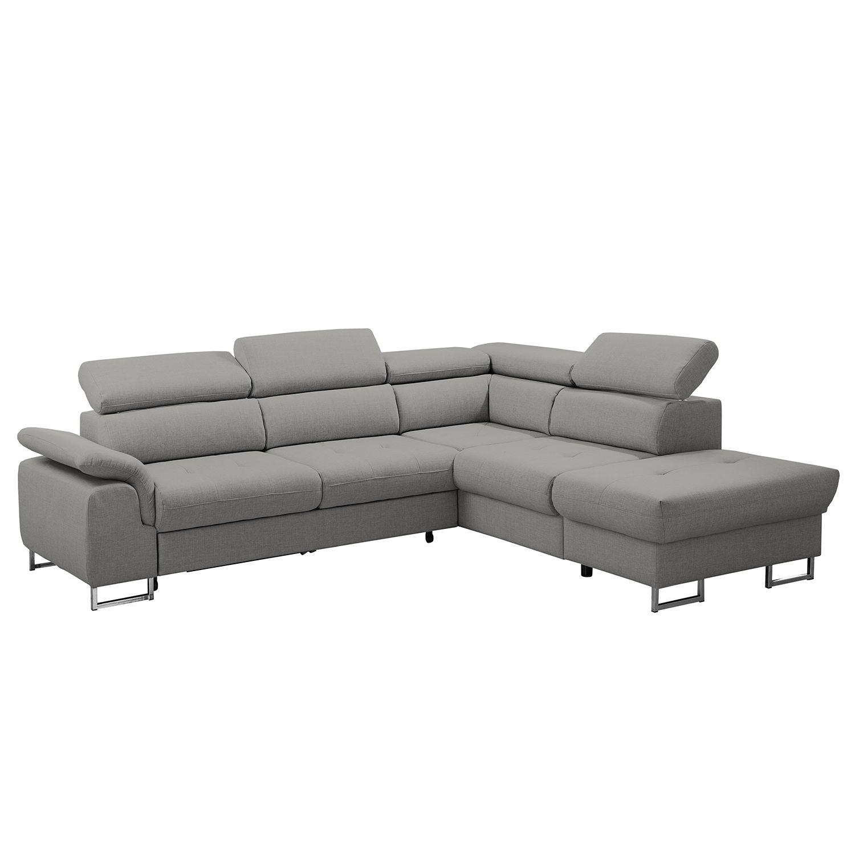 ecksofa keystone mit schlaffunktion strukturstoff ottomane davorstehend rechts platin. Black Bedroom Furniture Sets. Home Design Ideas