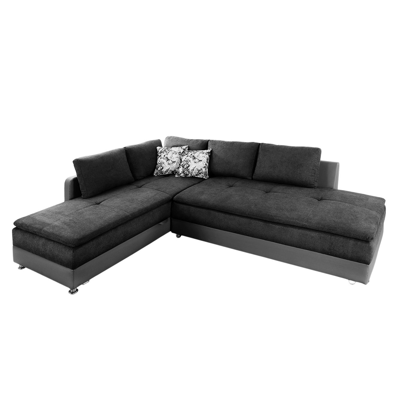 ecksofa latur mit schlaffunktion microfaser kunstleder ottomane davorstehend links. Black Bedroom Furniture Sets. Home Design Ideas