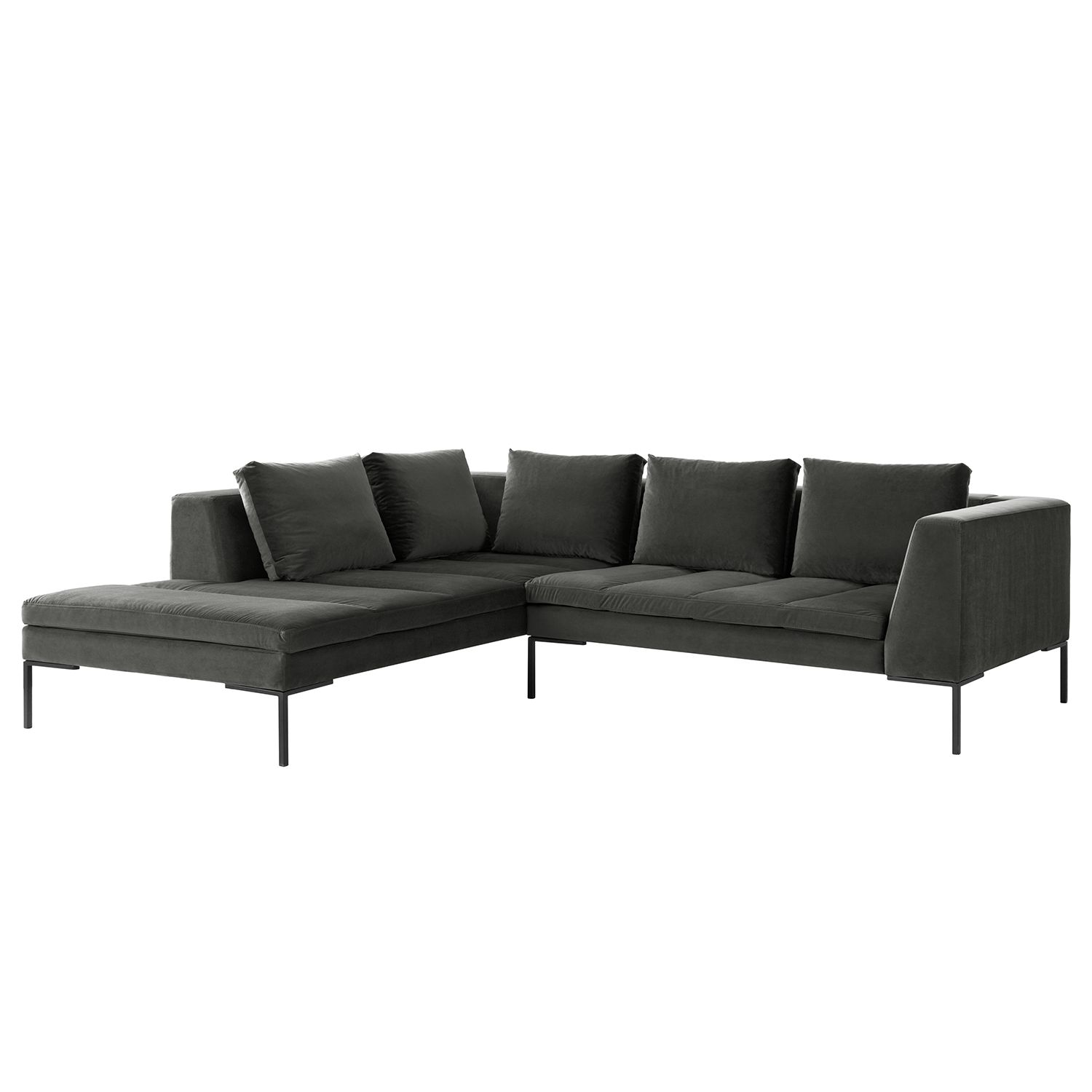 ecksofa madison samt ottomane davorstehend links 255 cm stoff shyla rauchgr n studio. Black Bedroom Furniture Sets. Home Design Ideas