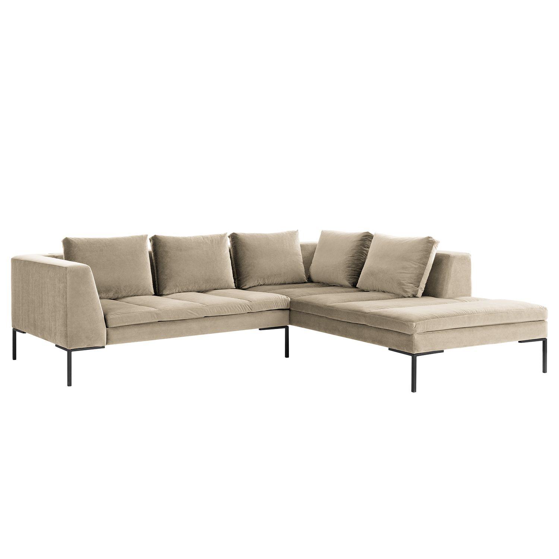 ecksofa madison samt ottomane davorstehend rechts 255 cm stoff shyla beige studio. Black Bedroom Furniture Sets. Home Design Ideas