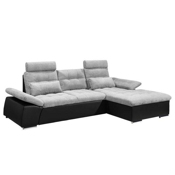 Ecksofa Puntiro (mit Schlaffunktion) Kunstleder / Webstoff - Longchair davorstehend rechts - Schwarz / Platin