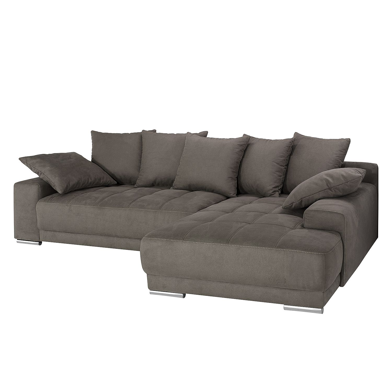 ecksofa stonda mit schlaffunktion beideitig montierbar microfaser dunkelgrau fredriks. Black Bedroom Furniture Sets. Home Design Ideas