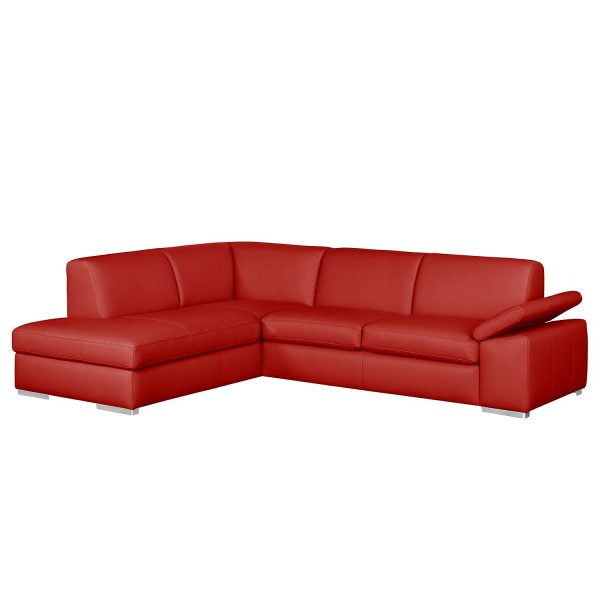 Ecksofa Termon III Echtleder - Longchair davorstehend links - Rot