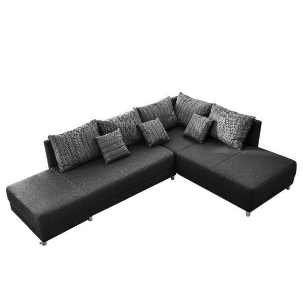 Ecksofa Vapi (mit Schlaffunktion) - Webstoff - Schwarz / Grau