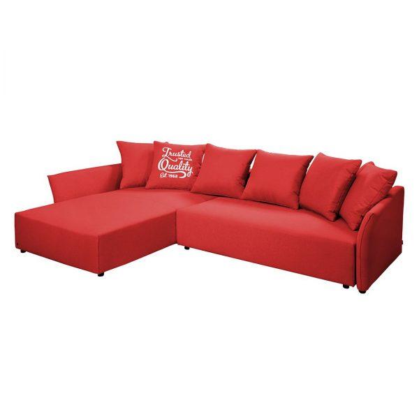 Ecksofa Wings Casual (mit Schlaffunktion) Webstoff - Longchair/Ottomane davorstehend links - Rot - 6 Kissen