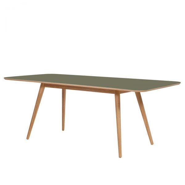 Esstisch Viggo - Eiche teilmassiv / Linoleum - Olivgrün / Eiche - 200 x 90 cm