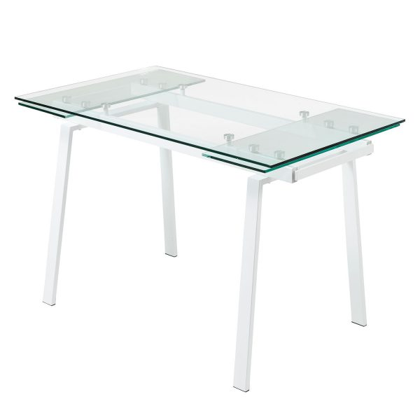 Esstisch Zinola (mit Ausziehfunktion) - Glas / Metall - Weiß