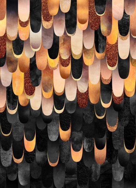 Feathered Copper & Black Leinwandbild