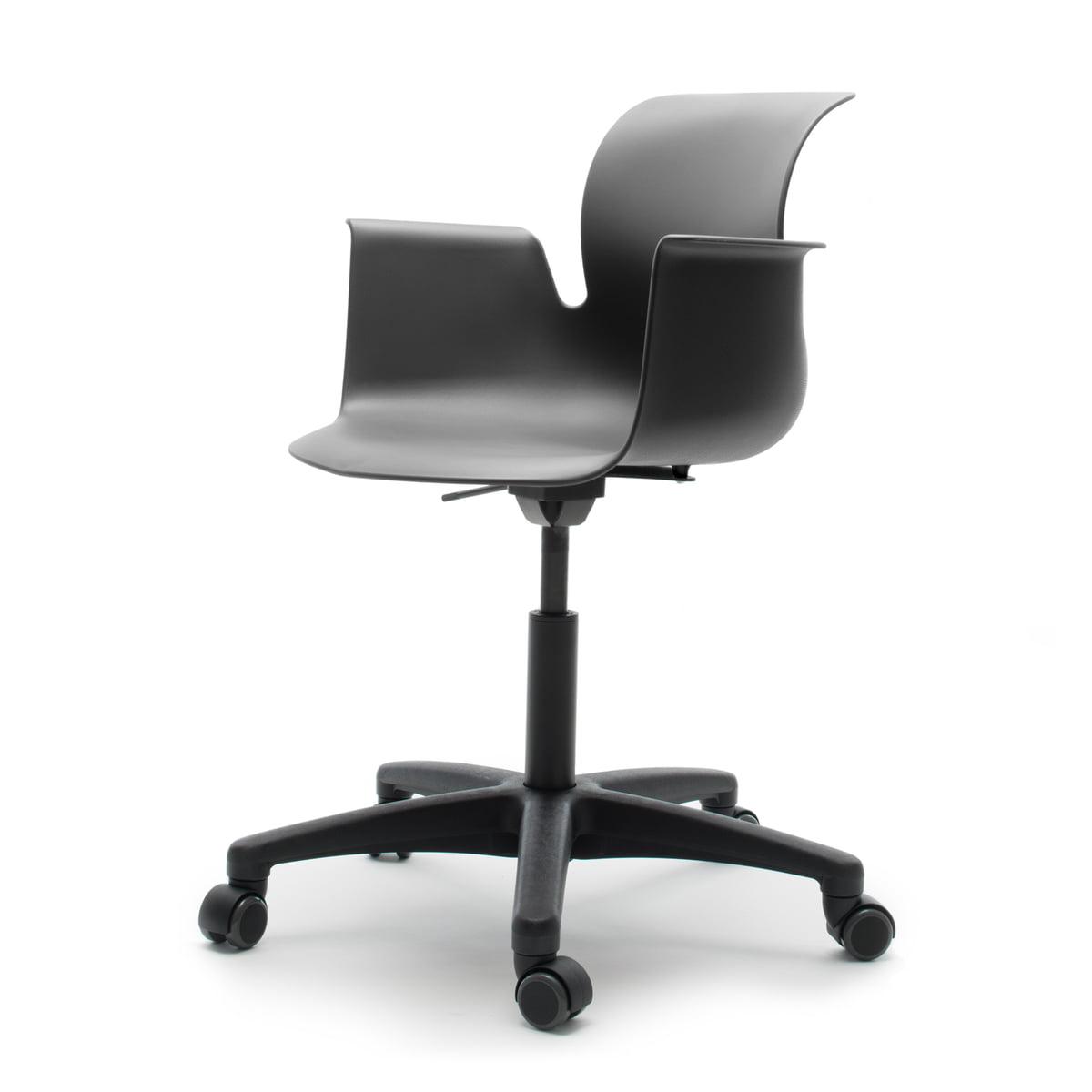 fl totto systemm bel gmbh fl totto pro 6 armlehn drehstuhl polyamid graphitschwarz. Black Bedroom Furniture Sets. Home Design Ideas
