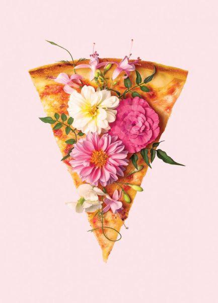 Floral Pizza Leinwandbild