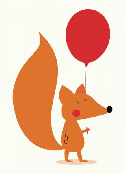 Fox with a Red Balloon Leinwandbild