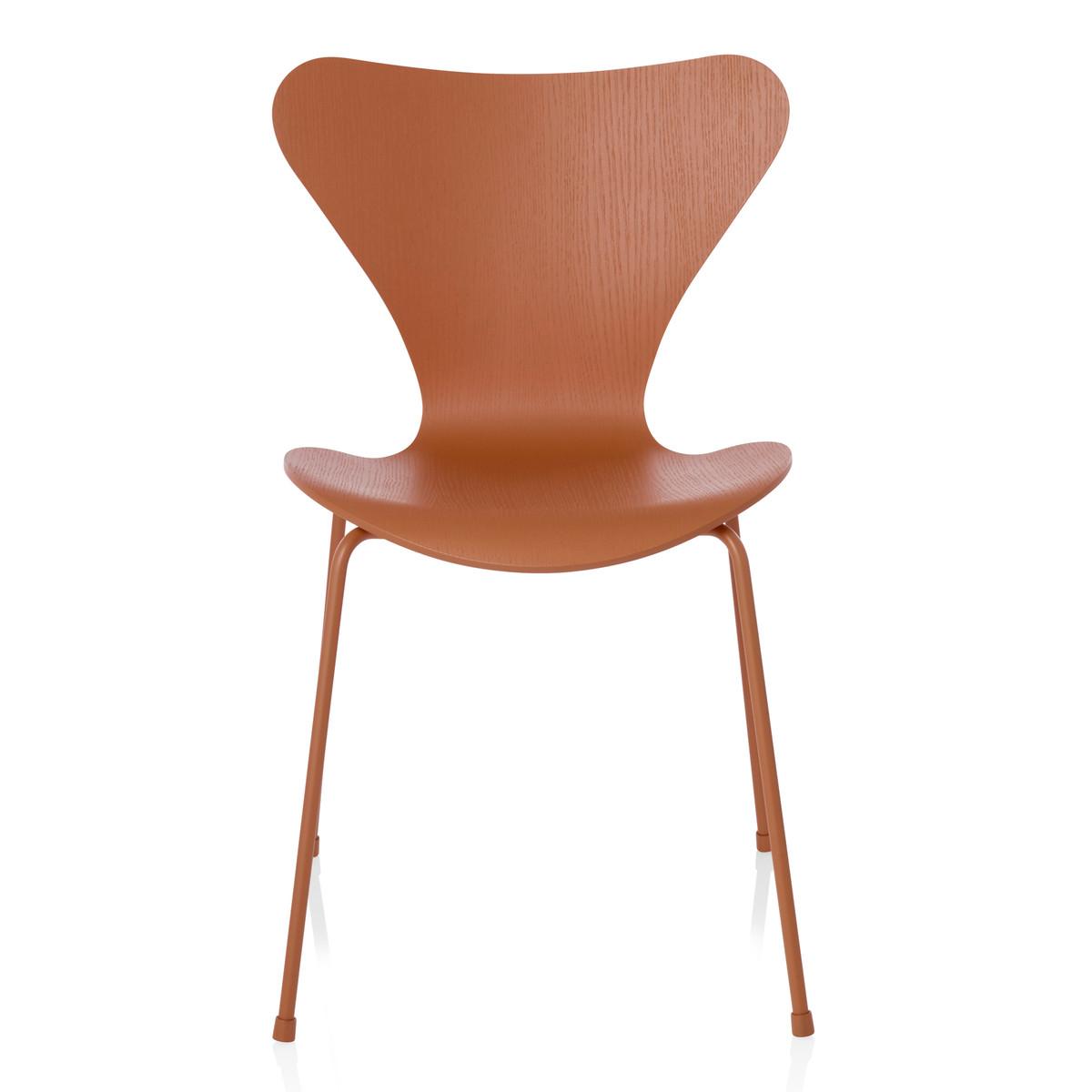 Fritz Hansen Serie 7 Stuhl Monochrom Esche Chevalier orange gefärbt 46 5 cm Orange T 52 H 80