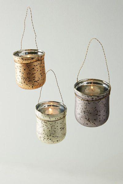 Gesprenkeltes Kerzenglas zum Aufhängen - Silver44373272EU