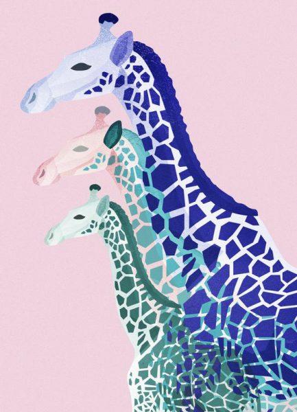 Giraffes Pink Leinwandbild