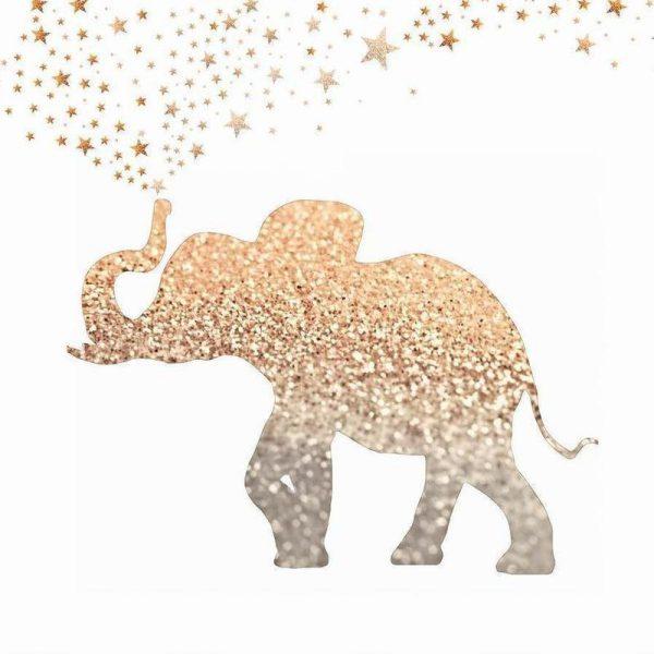 Gold Elephant Leinwandbild