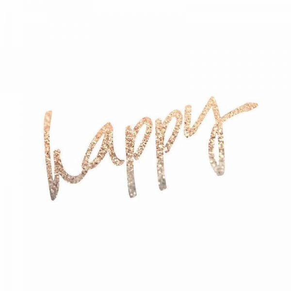 Gold Happy Leinwandbild