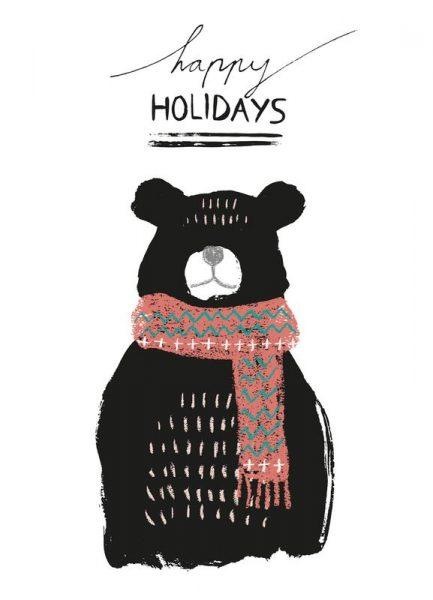 Happy Holidays Bear Leinwandbild