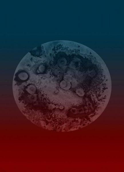 Ixion Light Blue Red Leinwandbild