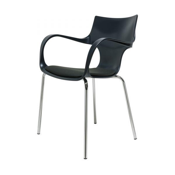 Jim Armlehnstuhl Stahl mit Sitzkissen anthrazit
