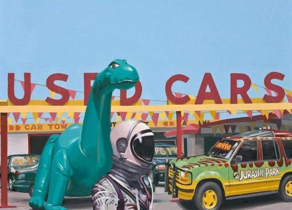 Jurassic Parking Lot Leinwandbild