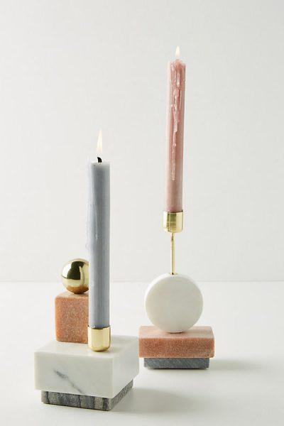 Kerzenhalter mit geometrischem Stapeldesign - White44900694EU