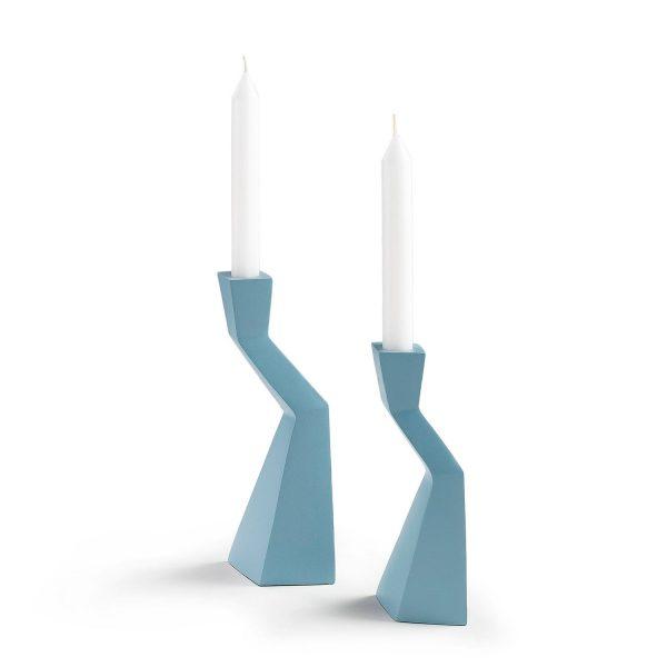 Kerzenständer TASKY I (2-teilig) - Aluminium - Hellblau