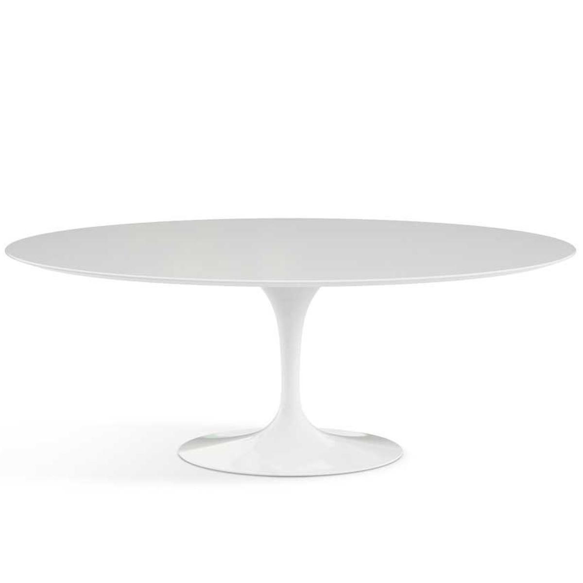 Esstisch oval weiß  Knoll International Knoll - Saarinen Tulip Esstisch, oval 74 x 198 cm -  Säulenfuß weiß / Tischplatte Laminat weiß Weiß T:121 H:74 B:198